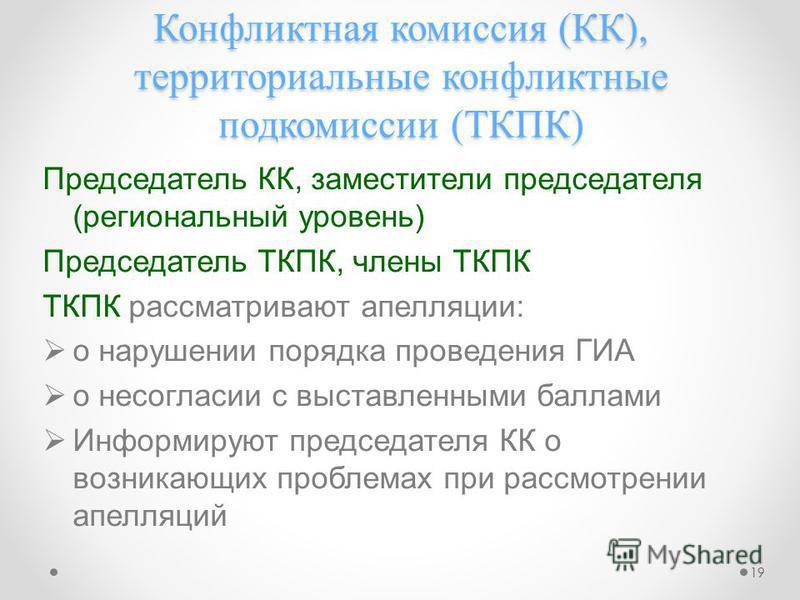 Конфликтная комиссия (КК), территориальные конфликтные подкомиссии (ТКПК) Председатель КК, заместители председателя (региональный уровень) Председатель ТКПК, члены ТКПК ТКПК рассматривают апелляции: о нарушении порядка проведения ГИА о несогласии с в