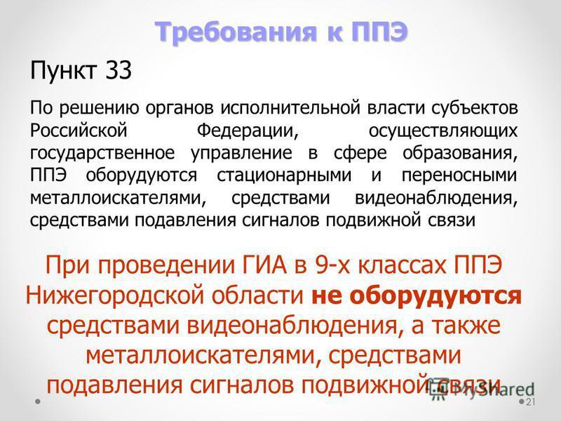 21 Требования к ППЭ Пункт 33 По решению органов исполнительной власти субъектов Российской Федерации, осуществляющих государственное управление в сфере образования, ППЭ оборудуются стационарными и переносными металлоискателями, средствами видеонаблюд