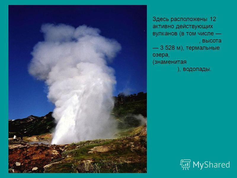 Здесь расположены 12 активно действующих вулканов (в том числе Кроноцкая сопка, высота 3 528 м), термальные озера, гейзеры (знаменитая Долина Гейзеров), водопады. Кроноцкая сопка гейзеры Долина Гейзеров