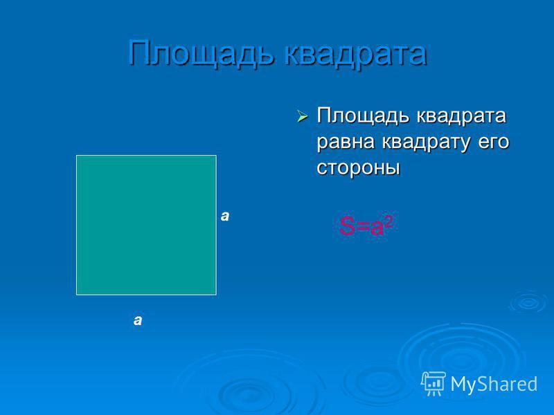 Площадь квадрата Площадь квадрата равна квадрату его стороны Площадь квадрата равна квадрату его стороны а а S=a2S=a2