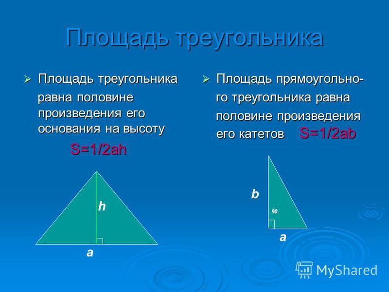 Площадь треугольника Площадь треугольника Площадь треугольника равна половине произвелдения его основания на высоту равна половине произвелдения его основания на высоту S=1/2 ah S=1/2 ah Площадь прямоугольно- Площадь прямоугольно- го треугольника рав