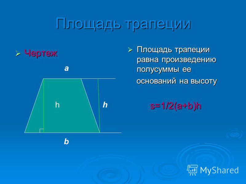 Площадь трапеции Чертеж Чертеж Площадь трапеции равна произвелданию полусуммы ее Площадь трапеции равна произвелданию полусуммы ее оснований на высоту оснований на высоту s=1/2(а+b)h s=1/2(а+b)h а b hh
