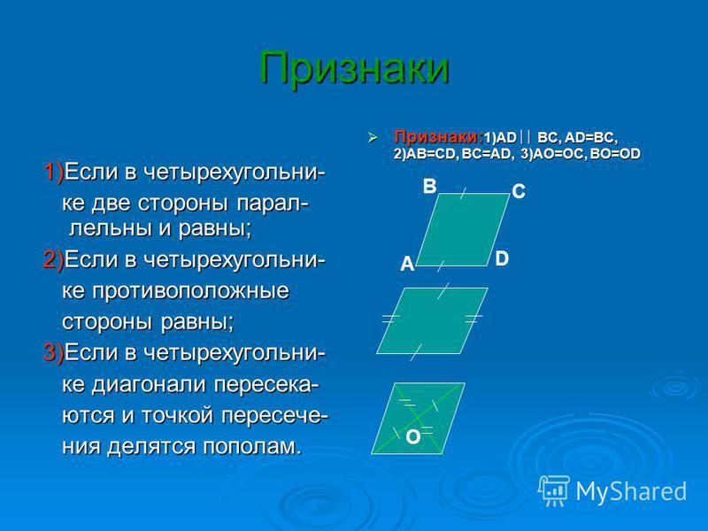 Признаки Признаки: 1)АD ВС, АD=ВС, 2)АВ=СD, ВС=АD, 3)АО=ОС, ВО=ОD Признаки: 1)АD ВС, АD=ВС, 2)АВ=СD, ВС=АD, 3)АО=ОС, ВО=ОD 1)Если в четырехугольниее две стороны параллельны и равны; ее две стороны параллельны и равны; 2)Если в четырехугольниее против
