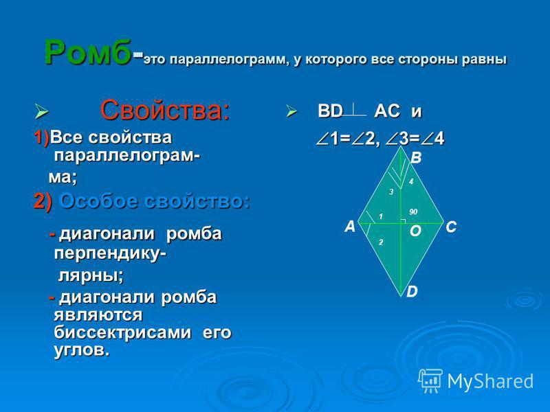 Ромб- это параллельногорамм, у которого все стороны равны Свойства: Свойства: 1)Все свойства параллельногорама; ма; 2) Особое свойство: - диагонали ромба перпендику- - диагонали ромба перпендикулярны; лярны; - диагонали ромба являются биссектрисами е