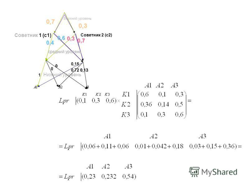 0,3 0,7 0,3 0,4 0,7 0,6 Верхний уровень Нижний уровень Советник 1 (с 1) Советник 2 (с 2) средний уровень 1 0 0 0,72 0,13 0,15
