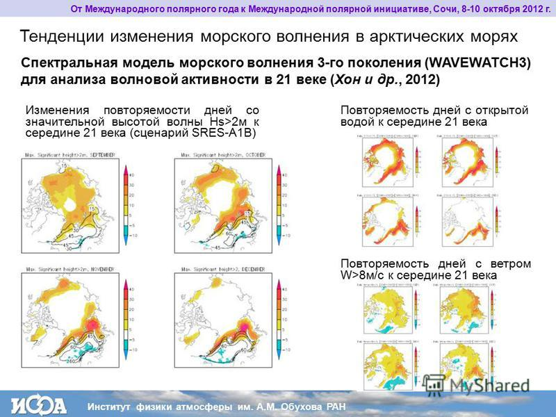 От Международного полярного года к Международной полярной инициативе, Сочи, 8-10 октября 2012 г. Тенденции изменения морского волнения в арктических морях Спектральная модель морского волнения 3-го поколения (WAVEWATCH3) для анализа волновой активнос