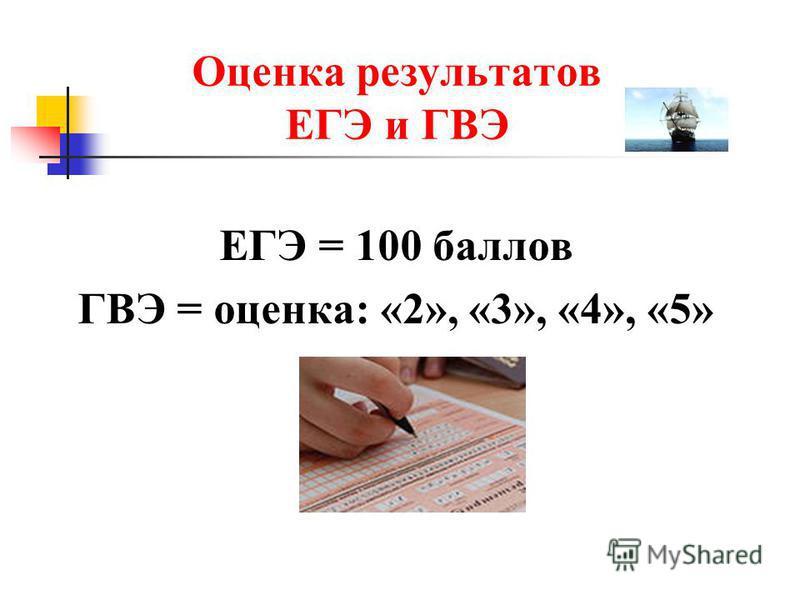 ЕГЭ = 100 баллов ГВЭ = оценка: «2», «3», «4», «5» Оценка результатов ЕГЭ и ГВЭ
