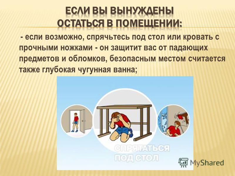 - если возможно, спрячьтесь под стол или кровать с прочными ножками - он защитит вас от падающих предметов и обломков, безопасным местом считается также глубокая чугунная ванна;