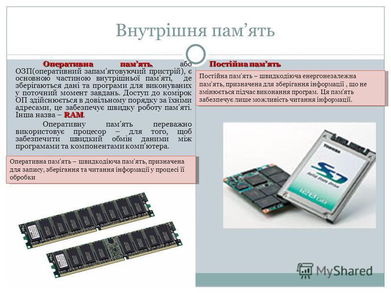 Внутрішня память Оперативна память RAM Оперативна память, або ОЗП(оперативний запам'ятовуючий пристрій), є основною частиною внутрішньої пам'яті, де зберігаються дані та програми для виконуваних у поточний момент завдань. Доступ до комірок ОП здійсню