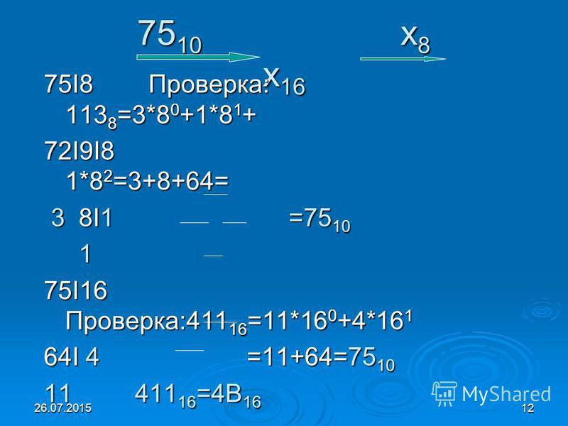 26.07.201512 75 10 x 8 x 16 75I8 Проверка: 113 8 =3*8 0 +1*8 1 + 72I9I8 1*8 2 =3+8+64= 3 8I1 =75 10 3 8I1 =75 10 1 75I16 Проверка:411 16 =11*16 0 +4*16 1 64I 4 =11+64=75 10 11 411 16 =4В 16
