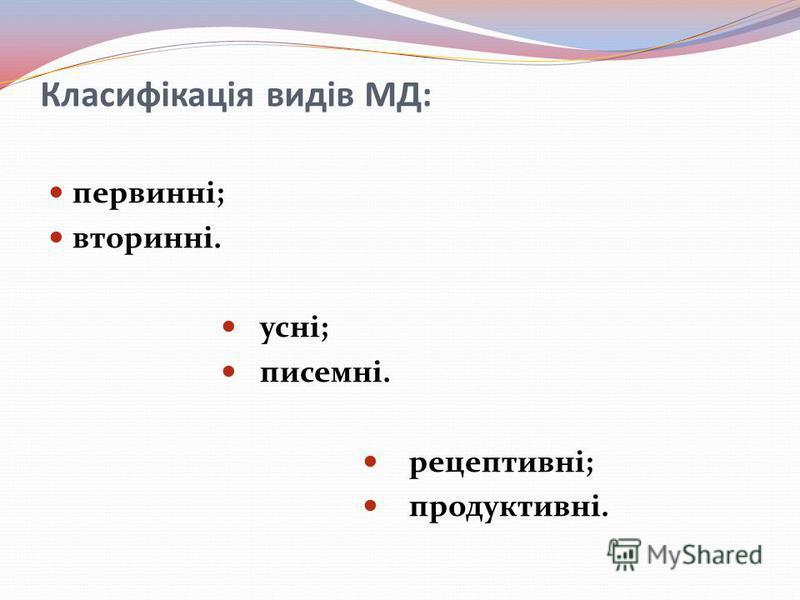 Класифікація видів МД: первинні; вторинні. усні; писемні. рецептивні; продуктивні.