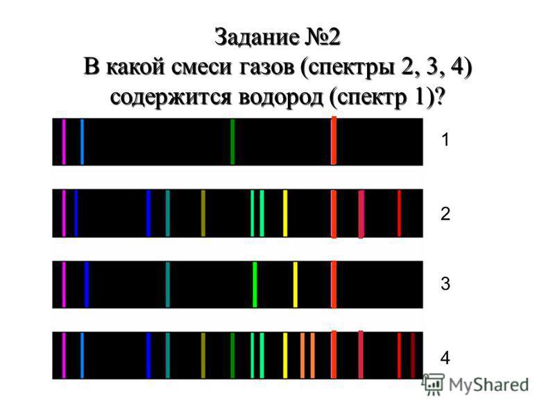 Задание 2 В какой смеси газов (спектры 2, 3, 4) содержится водород (спектр 1)? 1 2 3 4