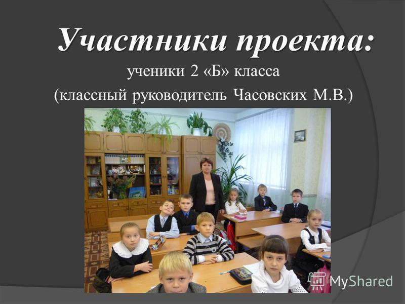 ученики 2 «Б» класса (классный руководитель Часовских М.В.) Участники проекта:
