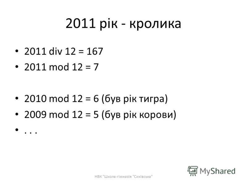 2011 рік - кролика 2011 div 12 = 167 2011 mod 12 = 7 2010 mod 12 = 6 (був рік тигра) 2009 mod 12 = 5 (був рік корови)... НВК Школа-гімназія Сихівська