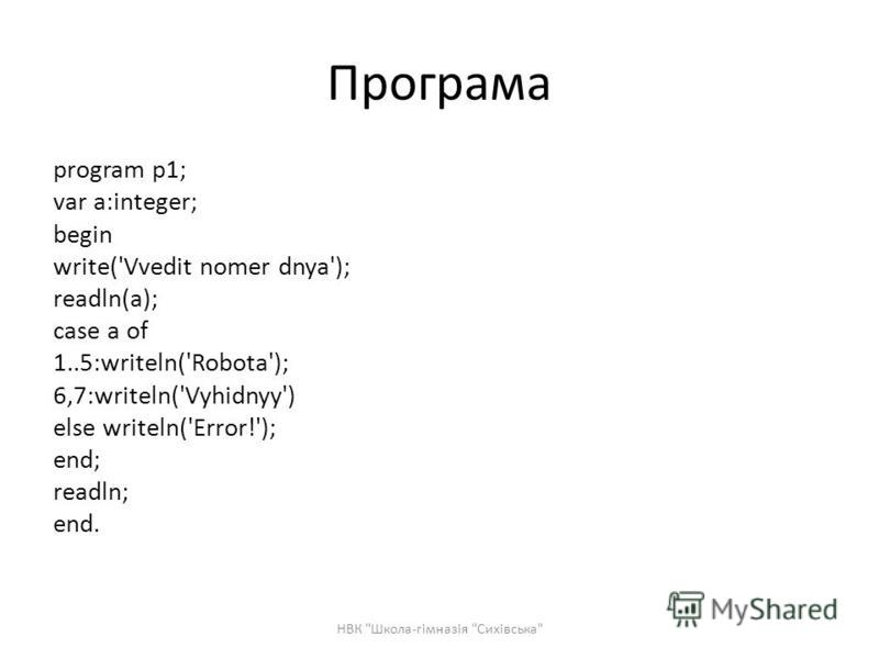 Програма program p1; var a:integer; begin write('Vvedit nomer dnya'); readln(a); case a of 1..5:writeln('Robota'); 6,7:writeln('Vyhidnyy') else writeln('Error!'); end; readln; end. НВК Школа-гімназія Сихівська