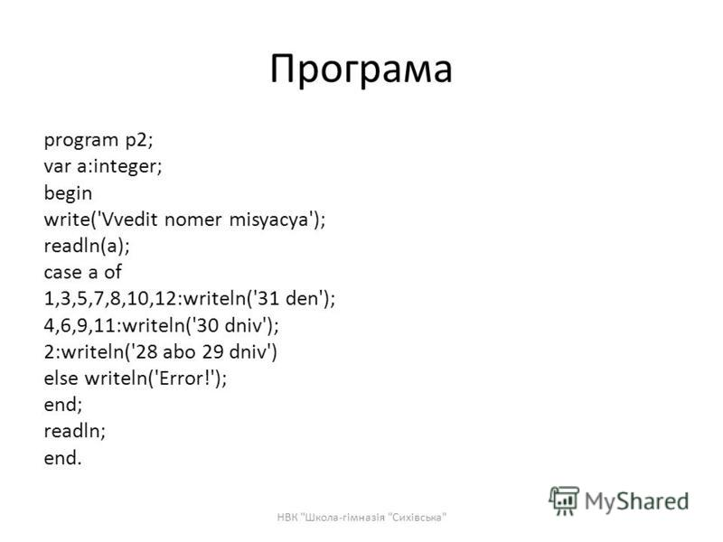 Програма program p2; var a:integer; begin write('Vvedit nomer misyacya'); readln(a); case a of 1,3,5,7,8,10,12:writeln('31 den'); 4,6,9,11:writeln('30 dniv'); 2:writeln('28 abo 29 dniv') else writeln('Error!'); end; readln; end. НВК
