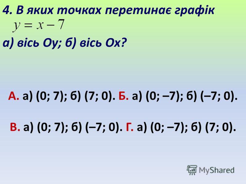 А. а) (0; 7); б) (7; 0). Б. а) (0; –7); б) (–7; 0). В. а) (0; 7); б) (–7; 0). Г. а) (0; –7); б) (7; 0). 4. В яких точках перетинає графік а) вісь Oy; б) вісь Ox?
