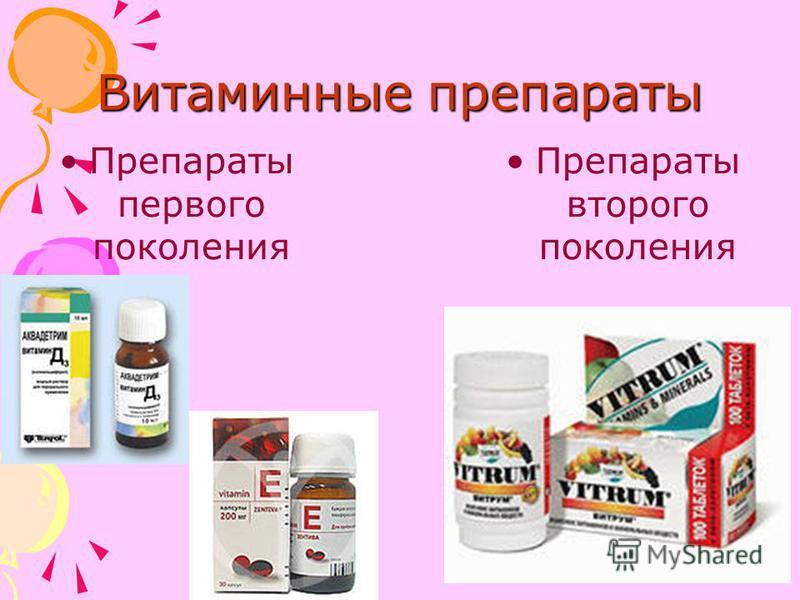 Витаминные препараты Препараты первого поколения Препараты второго поколения