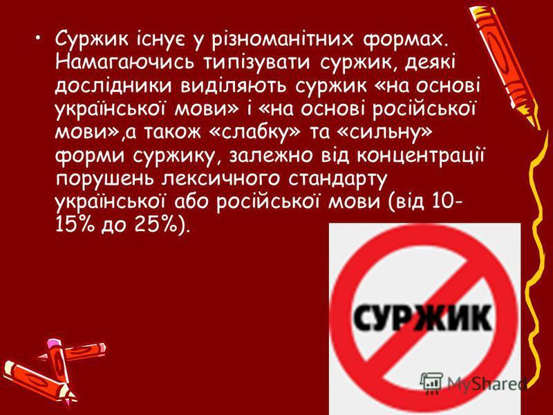Суржик існує у різноманітних формах. Намагаючись типізувати суржик, деякі дослідники виділяють суржик «на основі української мови» і «на основі російської мови»,а також «слабку» та «сильну» форми суржику, залежно від концентрації порушень лексичного