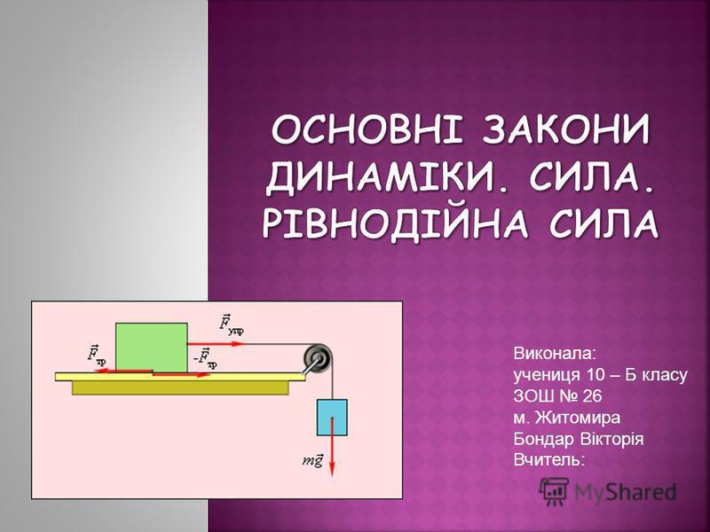 Виконала: учениця 10 – Б класу ЗОШ 26 м. Житомира Бондар Вікторія Вчитель:
