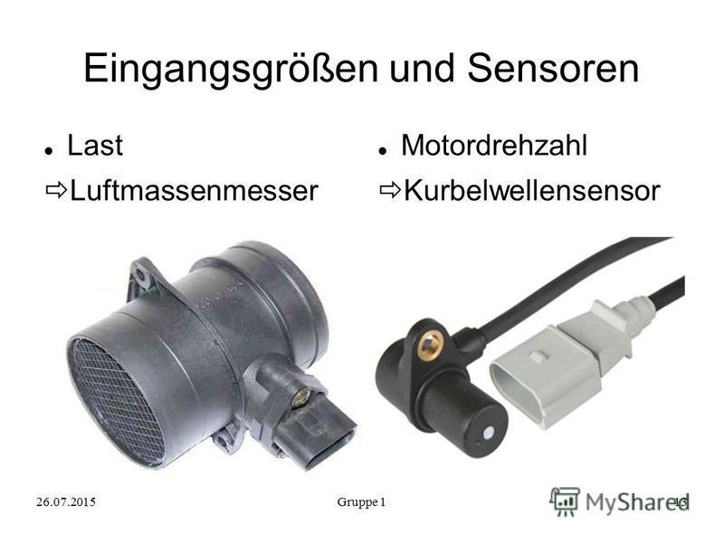 Eingangsgrößen und Sensoren Last Luftmassenmesser Motordrehzahl Kurbelwellensensor 26.07.2015Gruppe 113