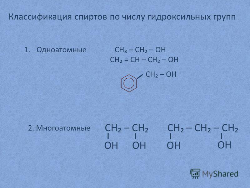 Классификация спиртов по числу гидроксильных групп 1. Одноатомные CH – CH – OH CH = CH – CH – OH CH – OH 2. Многоатомные CH – CH OH CH – CH – CH OH