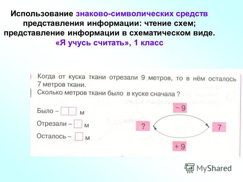 Использование знаково-символических средств представления информации: чтение схем; представление информации в схематическом виде. «Я учусь считать», 1 класс