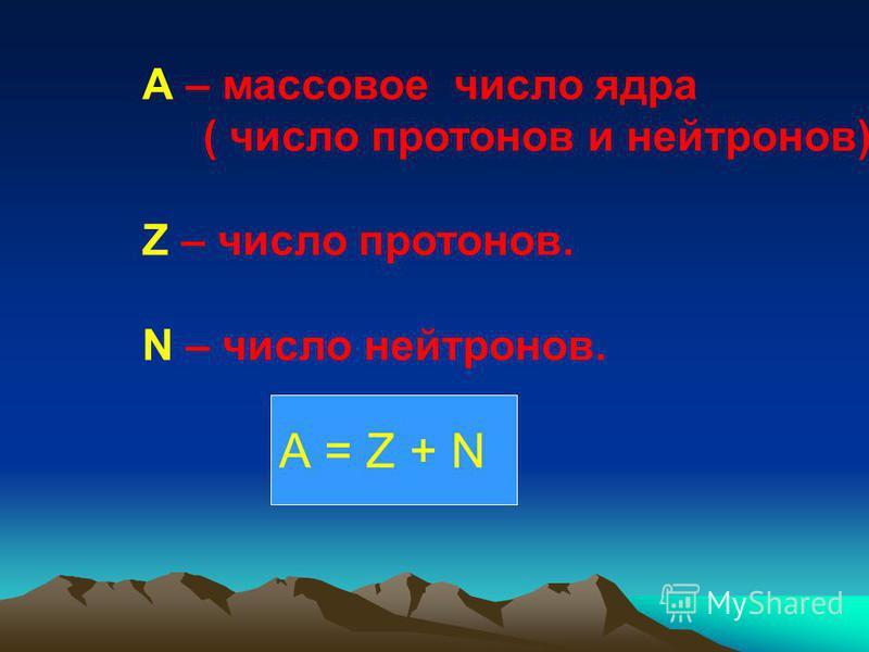 А – массовое число ядра ( число протонов и нейтронов) Z – число протонов. N – число нейтронов. А = Z + N