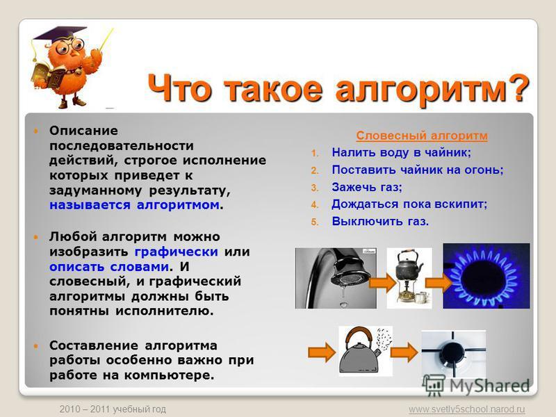 www.svetly5school.narod.ru 2010 – 2011 учебный год Что такое алгоритм? Описание последовательности действий, строгое исполнение которых приведет к задуманному результату, называется алгоритмом. Любой алгоритм можно изобразить графически или описать с