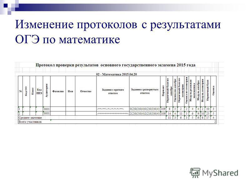 Изменение протоколов с результатами ОГЭ по математике
