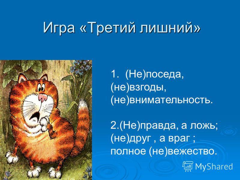 Игра «Третий лишний» 1. (Не)поседа, (не)взгоды, (не)внимательность. 2.(Не)правда, а ложь; (не)друг, а враг ; полное (не)вещество.
