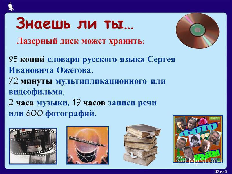 32 из 9 Знаешь ли ты… Лазерный диск может хранить: 95 копий словаря русского языка Сергея Ивановича Ожегова, 72 минуты мультипликационного или видеофильма, 2 часа музыки, 19 часов записи речи или 600 фотографий.