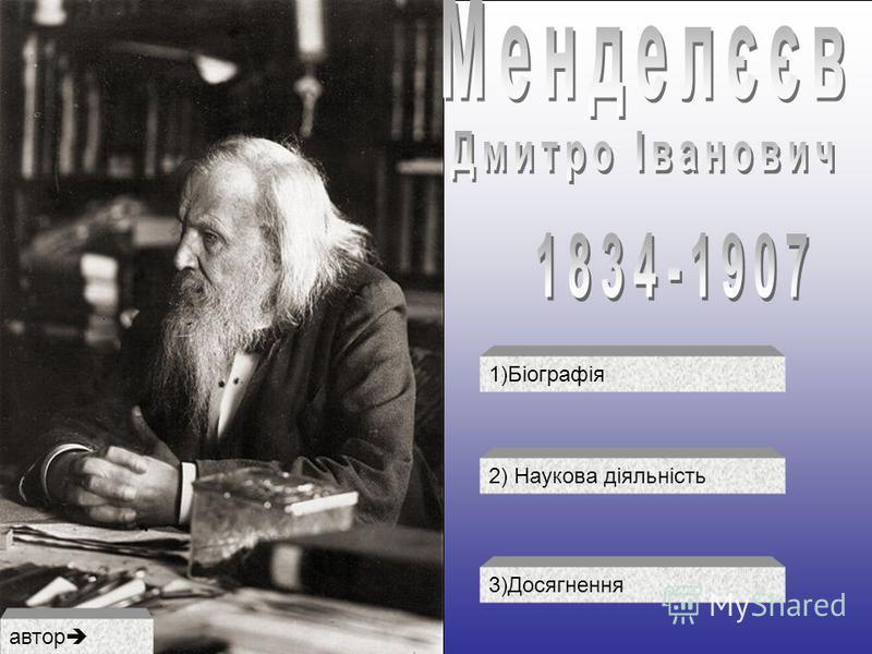 1)Біографія 2) Наукова діяльність 3)Досягнення автор