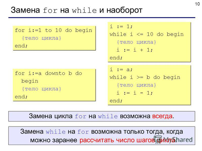 10 Замена for на while и наоборот for i:=1 to 10 do begin {тело цикла} end; for i:=1 to 10 do begin {тело цикла} end; i := 1; while i <= 10 do begin {тело цикла} i := i + 1; end; i := 1; while i <= 10 do begin {тело цикла} i := i + 1; end; for i:=a d