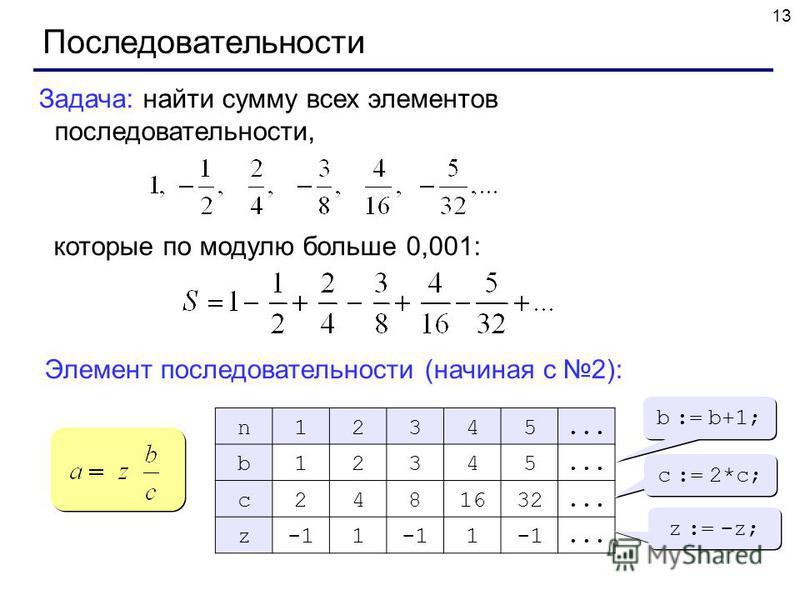 13 Последовательности Задача: найти сумму всех элементов последовательности, которые по модулю больше 0,001: Элемент последовательности (начиная с 2): n12345... b12345 c2481632... z1 1... b := b+1; c := 2*c; z := -z;