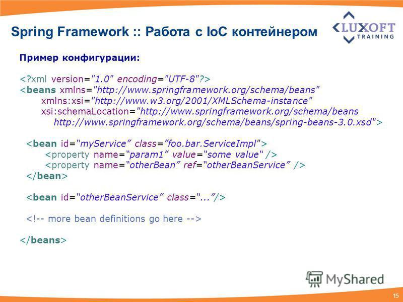15 Spring Framework :: Работа с IoC контейнером Пример конфигурации: <beans xmlns=