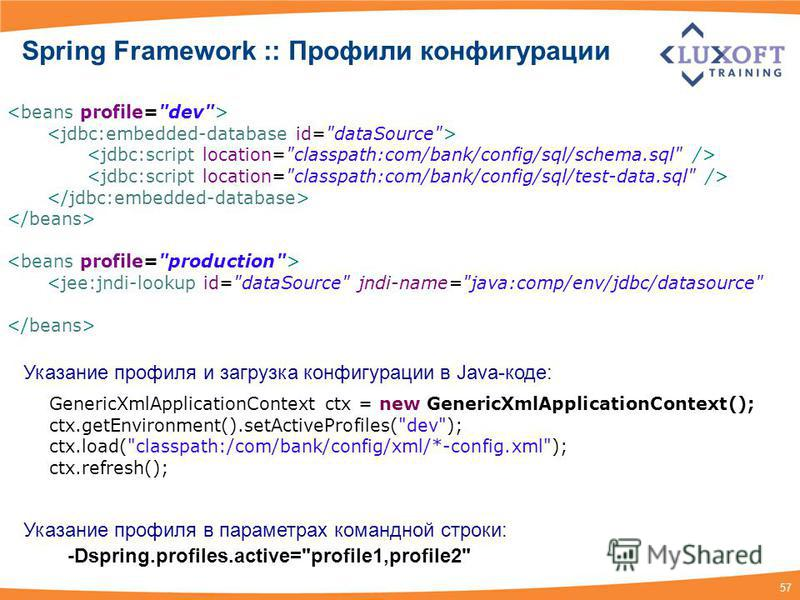57 Spring Framework :: Профили конфигурации GenericXmlApplicationContext ctx = new GenericXmlApplicationContext(); ctx.getEnvironment().setActiveProfiles(
