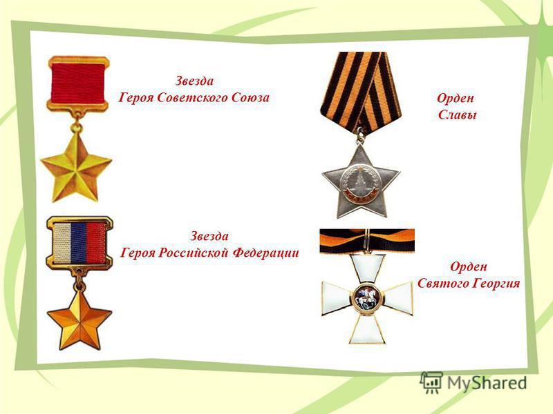 Звезда Героя Советского Союза Звезда Героя Российской Федерации Орден Славы Орден Святого Георгия