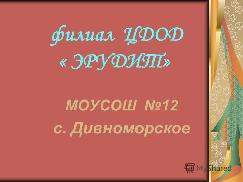 филиал ЦДОД « ЭРУДИТ» МОУСОШ 12 с. Дивноморское
