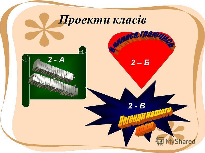 Проекти класів 2 - А 2 – Б 2 - В