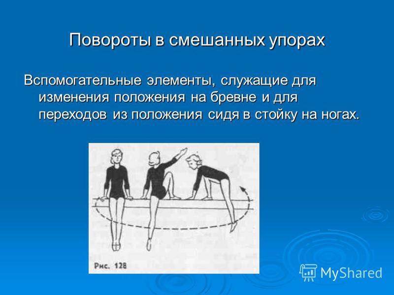 Повороты в смешанных упорах Вспомогательные элементы, служащие для изменения положения на бревне и для переходов из положения сидя в стойку на ногах.