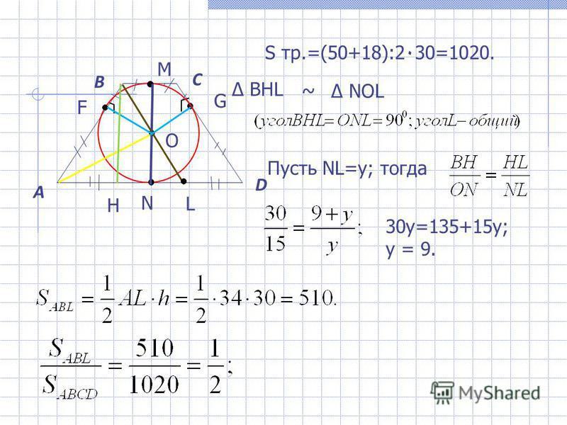 A B C D О M N L H F G S тр.=(50+18):2٠30=1020. Пусть NL=y; тогда ~ NOL BHL 30y=135+15y; y = 9.