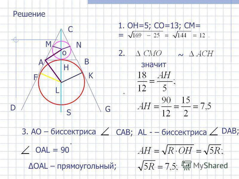 Решение 1. ОН=5; СО=13; СМ= = ~ значит А В С о Н М N F K L S D G 2. 3. АО – биссектриса САВ; АL - – биссектриса DAB; ОАL = 90 OAL – прямоугольный;