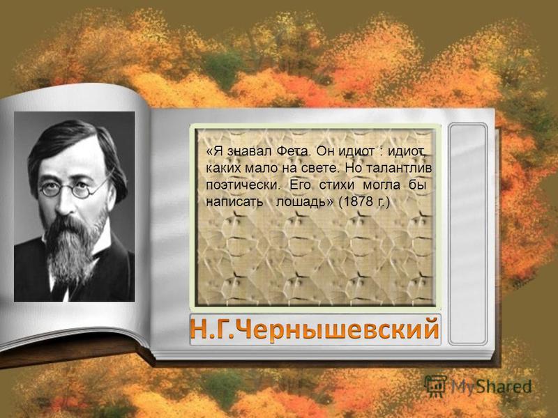 «Я знавал Фета. Он идиот : идиот, каких мало на свете. Но талантлив поэтически. Его стихи могла бы написать лошадь» (1878 г.)