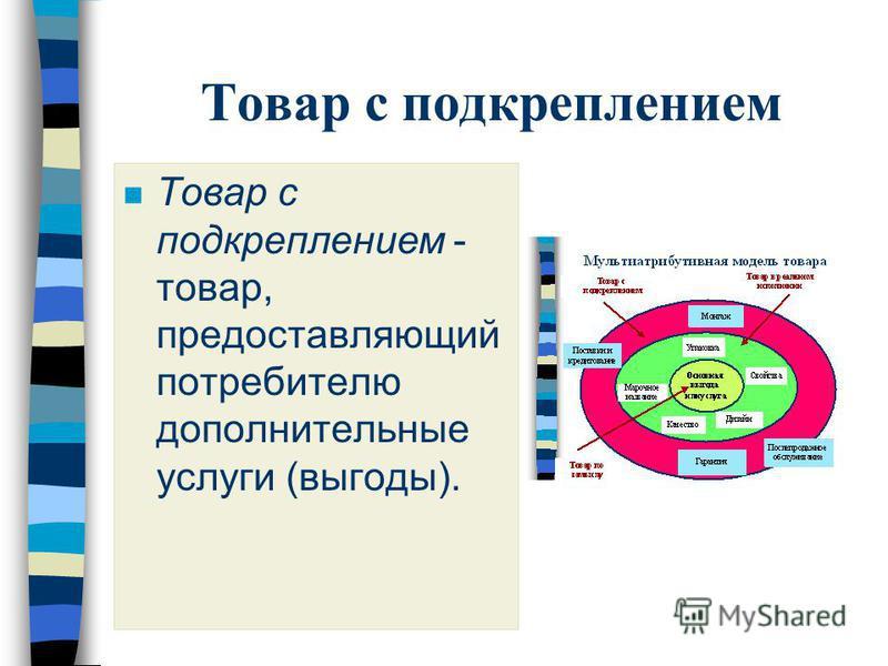 Товар с подкреплением n Товар с подкреплением - товар, предоставляющий потребителю дополнительные услуги (выгоды).