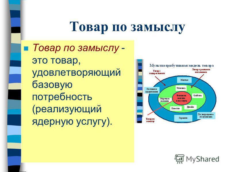 Товар по замыслу n Товар по замыслу - это товар, удовлетворяющий базовую потребность (реализующий ядерную услугу).