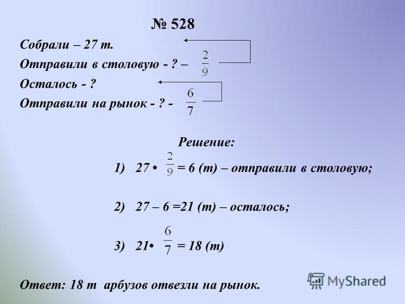 528 Собрали – 27 т. Отправили в столовую - ? – Осталось - ? Отправили на рынок - ? - Решение : 1) 27 = 6 ( т ) – отправили в столовую ; 2) 27 – 6 =21 ( т ) – осталось ; 3) 21 = 18 ( т ) Ответ : 18 т арбузов отвезли на рынок.