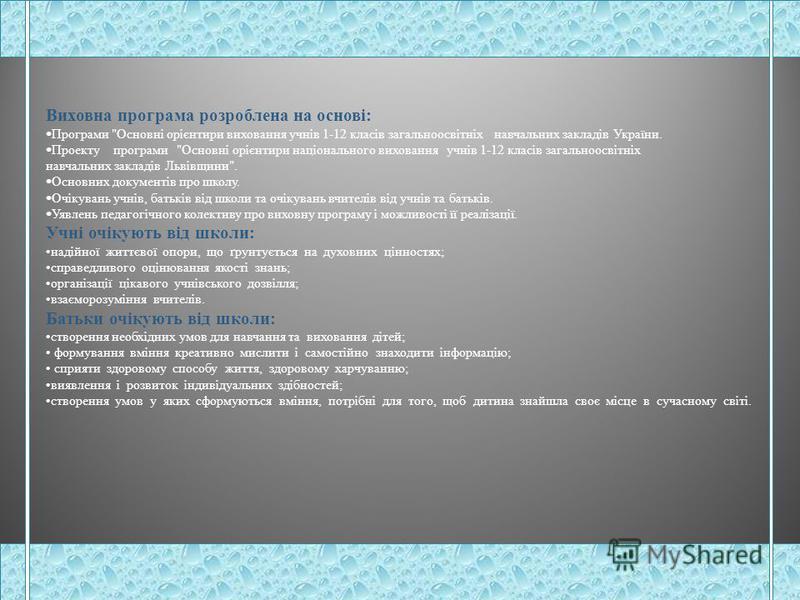 Виховна програма заступника директора з виховної роботи Андрущакевич Віри М. Ільницький НВК