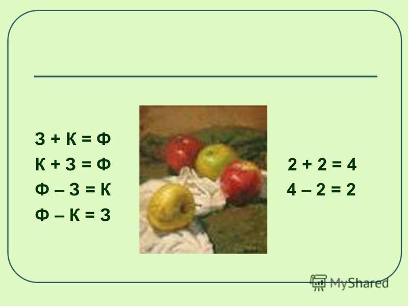 М + Б = Ф 3 + 1 = 4 Б + М = Ф 1 + 3 = 4 Ф – М = Б 4 – 3 = 1 Ф – Б = М 4 – 1= 3