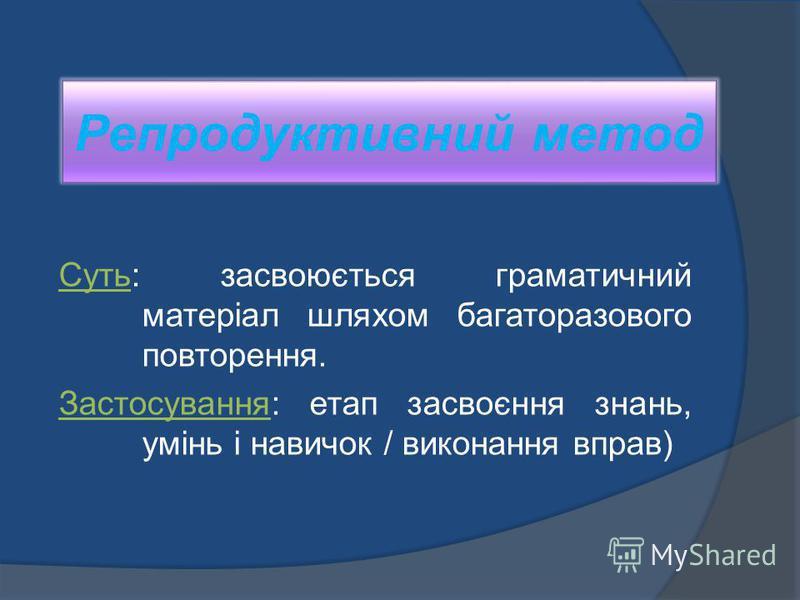 Репродуктивний метод Суть: засвоюється граматичний матеріал шляхом багаторазового повторення. Застосування: етап засвоєння знань, умінь і навичок / виконання вправ)